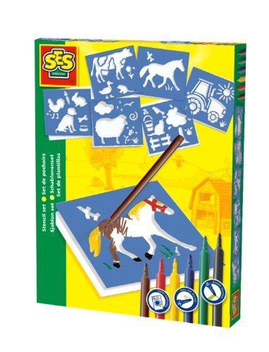 SES Creative Farm Yard Stencil Set with 6 Washable Markers by The Sales Partnership Distributors Ltd