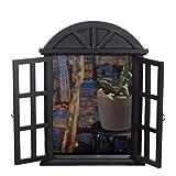 Riesiger Wandspiegel XXL BEW 124 Schwarz, Fensterspiegel, Spiegelfenster mit Fensterläden 61 cm hoch, Shabby-Look, Vintage Look, Antikoptik, Holz, Maritim, Deko, Hochwertig