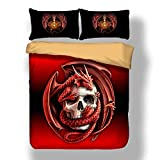 Sticker superb Bettwäsche Set Cool Gothic Tier Bettbezug Set mit Kissen Sham (Roter Drache, 200 x 200cm)