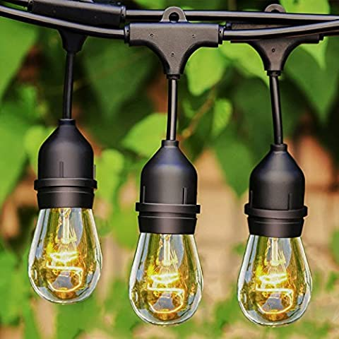 icase4u Vintage E27 33FT Outdoor Fairy String Light Wedding Party Christmas Waterproof heavy-duty light 12 socket(bulbs are not