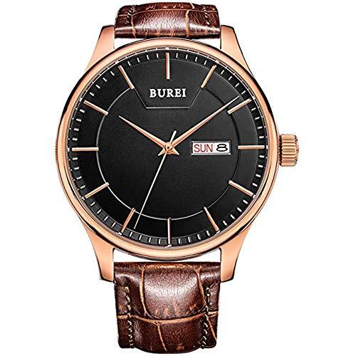 BUREI da uomo con precisione orologi da polso al quarzo con giorno e data...