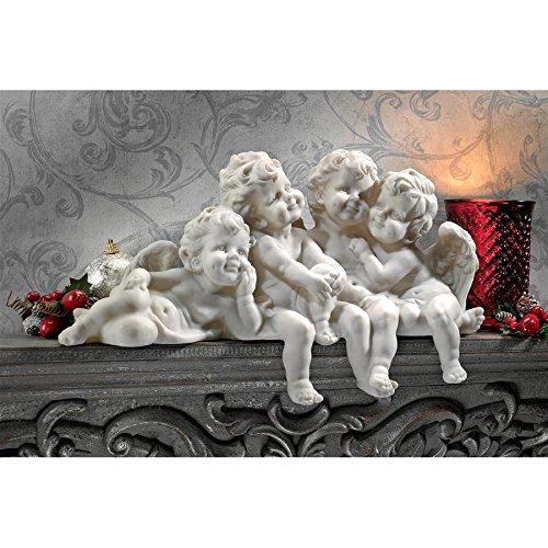Design Toscano Figur Puttenkonklave Sitzende Engel, silber, 14 x 45,5 x 30,5 cm, SH380151 -
