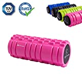 HD Fitness 2 in 1 Faszienrolle rosa Yogarolle mit Massagerolle Hohlkern inklusiv Eva Schaummantel 3D Oberfläche Massage Yoga 34cm;TÜV und RoHS Geprüft pink