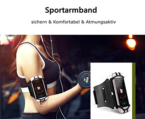 Schwarz Sportarmband Hülle, Schweißbeständig Anti-Rutsch Sport Sweatproof Armband Hülle Case + Schlüsselhalter für Smart Phone 6.0 Zoll (Armbänder, Schwarz)