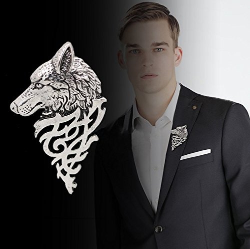 3 FOR 2 Sale! 5 cm Silver Colour Wolf Brooch Pin for Jacket or Collar, Game Of Thrones Unique Gift Luxury Broach Accessories Animal Fashion Dire Wold Head Bust Statue Gamer Film TV Wolfs Rain Blood Howl (Silver Antique Colour Wolf Pin)