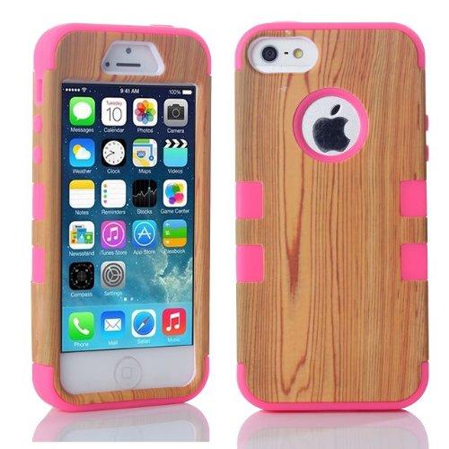 iPhone 5S Coque,iPhone SE Coque,Lantier Wood Design 3 IN 1 [Hard PC+Soft TPU Silicone] Armure antichoc Résistance Chute hybride Housse de protection pour Apple iPhone 5 5S SE Bleu Wood Hot Pink