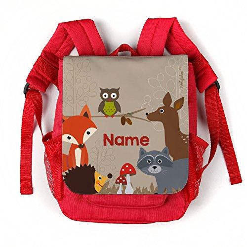 *Striefchen® Kinderrucksack in Rot – Waldtiere – mit Aufdruck des Namens*