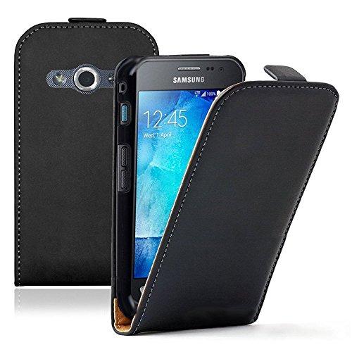 Samsung Galaxy Xcover 3 (2016) Value Edition SM-G389F Housse HCN PHONE® ULTRA FIN Etui Cuir PU à petit rabat vertical pour Samsung Galaxy Xcover 3 SM-G388F - NOIR