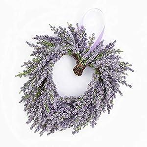 artplants.de Corazón de Lavanda Artificial, Violeta, Ø 20cm – Corona sintética – Composición Floral