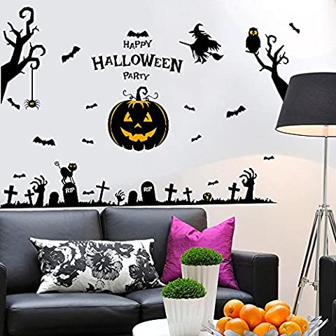 OverDose Happy Halloween Stickers Home Household Mural Decor Decal PVC Wall Sticker 60 x 90cm