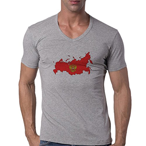 Russia Country Symbol Put In Red Logo Herren V-Neck T-Shirt Grau