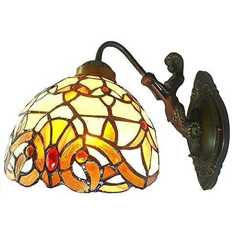 Nuomeiju ® wand veranda lampe, Tiffany - stil mit buntglas ton und bronze wandleuchter, NMJ004 (Gfci Steckdose)