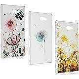 Sony Xperia M2 Funda - Lanveni® 3pcs Chic Elegante Carcasa Rigida PC ultra Slim para Sony Xperia M2 Transparente Protective Case - Patrón Diseño (Flor)