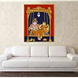 PRINTELLIGENT Canvas Painting - Shri Radha Swings While Shri Krishna Tanjore Painting - Relgious Canvas Art Tanjore Painting Canvas Print Painting Wall Decor (Large - 28.9 X 36 Inch)