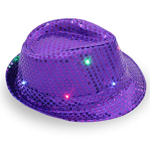 LED Light Up Blinking Flashing Sequin Jazz Cap Party Hat Suitable for Xmas Party Concert Stage Show ()