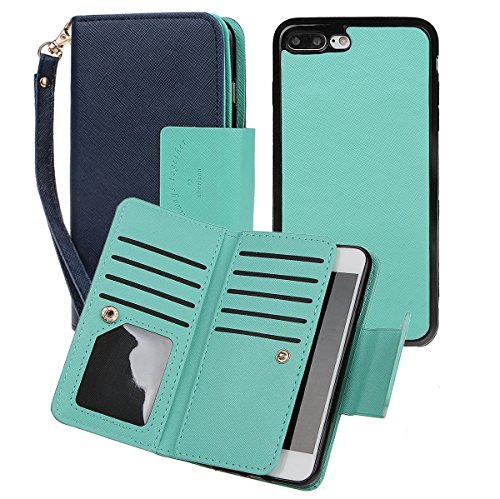 Case for iPhone 7/8 Plus, xhroizon Custodia Folio in pelle Premium [Magnetico] Stile Flip Book Molteplici Card Slot Tasca Cash con Cover di Protezione Magnetica per iPhone 7 Plus/ 8 Plus [5.5] Blu scuro