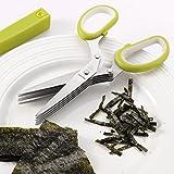 Mari Chef - Tijeras de cocina de hierba de acero inoxidable de 5 hojas con limpiador y cubierta de seguridad