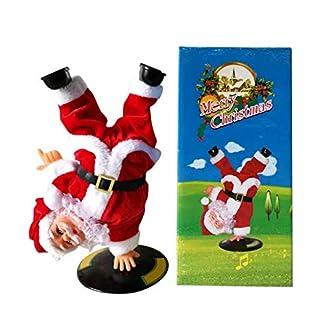 WAINEO Muñeca de Papá Noel Hip-hop invertida eléctrica con música cantando bailando muñecos de peluche de Navidad figuras de vacaciones para regalos de decoración de fiesta de Navidad