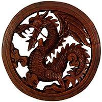 Drago scultura in legno, da appendere alla parete, commercio equo e solidale 20cm