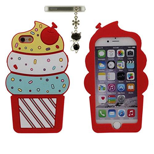 iPhone 6 Plus 6S Plus Etui, Style Cartoon Doux Silicone Coque Case per Apple iPhone 6 Plus 6S Plus 5.5 inch 3D Mignonne Crème glacée Conception Joli Rouge avec 1 Métal pendentif rouge