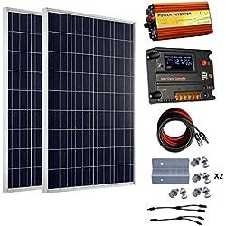 ECO-WORTHY 200 watts (2pcs 100 watts) 12V panneau solaire + contrôleur de charge de la batterie 20A + 1000W hors réseau onduleur