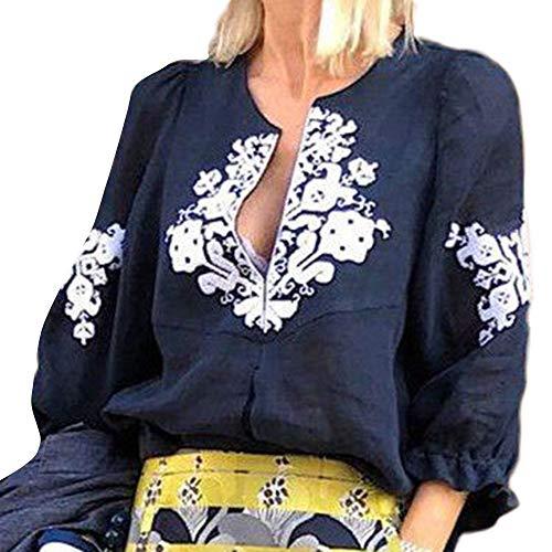 NPRADLA 2018 Herbst Bluse Damen Langarm Elegant Festlich V-Ausschnitt Casual Halbarm Print T-Shirts Tops(Marineblau,36)