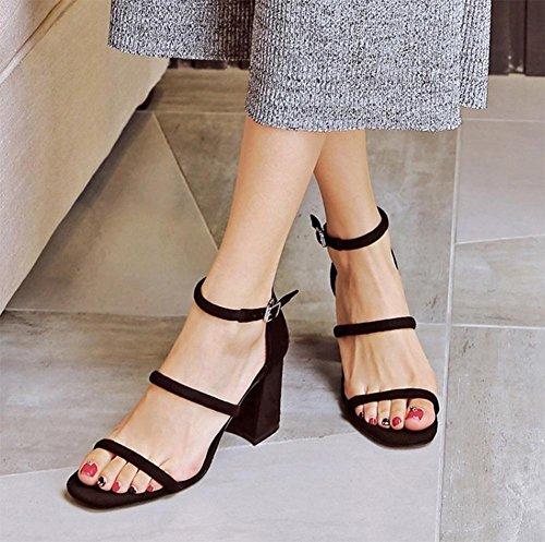 Frühlings-Wort Riemchen-Sandalen mit dicken Riemen vorne offen Schuhe mit hohen Absätzen Black
