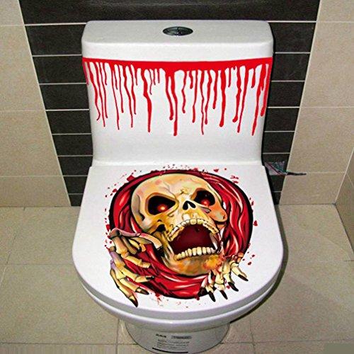 ween blutige Hand Toiletten Abdeckungs Partei Dekoration Aufkleber Prop furchtsamer Zombie (B) (Neue Lustige Halloween-kostüme 2017)