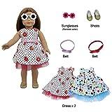 ZITA ELEMENT 2 Set Puppe Kleidung Strand Outfits Sonnenbrille Schuhe für American 17-18 Zoll Girl...