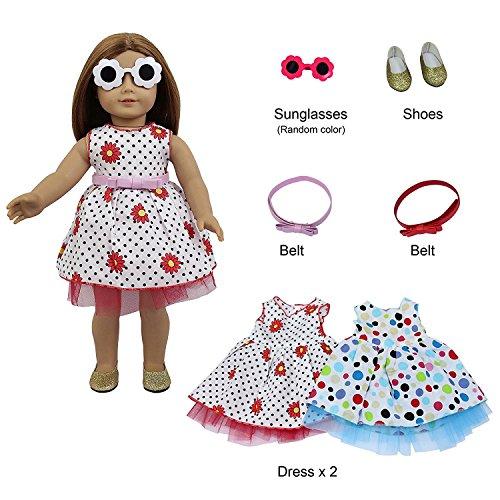 ZITA ELEMENT 2 Set Puppe Kleidung Strand Outfits Sonnenbrille Schuhe für American 17/18 Zoll Girl Doll 43cm 45-46cm Puppen Sommer Urlaub Zubehör Spielzeug Kleidgürtel - Kleidung Girl Puppe Strand American