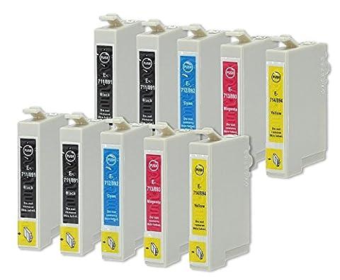 10 Druckerpatronen kompatibel zu Epson T0715 (4x Schwarz, 2x Cyan, 2x Magenta, 2x Gelb) passend für Epson Stylus D-120 D-78 D-92 DX-4000 DX-4050 DX-4400 DX-4450 DX-5000 DX-5050 DX-5500 DX-6000 DX-6050 DX-7000-F DX-7400 DX-7450 DX-8400 DX-8450 DX-9200 DX-9400-F Office-B-40-W Office-BX-300-F Office-BX-310-FN Office-BX-510-W Office-BX-600-FW Office-BX-610-FW S-20 S-21