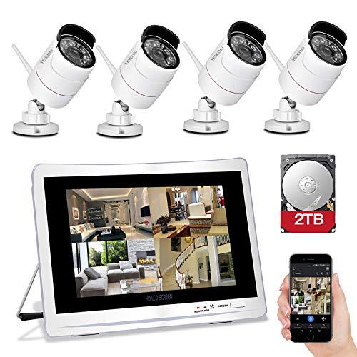 """YESKAMO Überwachungskamera Set Aussen Wlan mit 4 x 1080P WiFi Wasserdicht Kameras 12\"""" HD 2,0 Megapixel Monitor Vorinstalliert 2TB Festplatte Videoüberwachungssystem mit Nachtsicht Bewegungserkennung"""