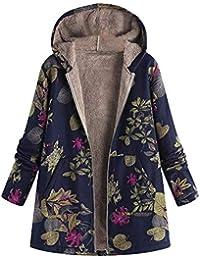 a3e5e2b74 Abrigo De Invierno para Mujer Parkas De Cálido Casuales Mujeres Invierno  con Estampado Floral Bolsillos con
