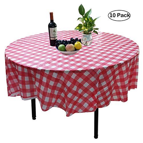 YUEKUI Runde Einweg-Tischdecke aus Kunststoff, 180 cm, kariert, Rot und Weiß, 10 Stück (Karierte Kunststoff-tischdecke Rot)