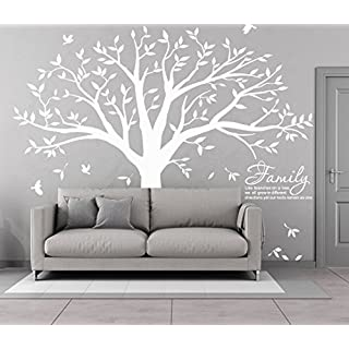 Giant Family Photo Tree Wall Sticker-Family Like Branches on a Tree Proverb Wall Art Room Decor (White)