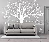 Riesig Familienfoto Baum Wandsticker Bilderrahmen Wandaufkleber Speicher Baum Vinyl Zweig Abnehmbare Wandtattoos (Weiß)