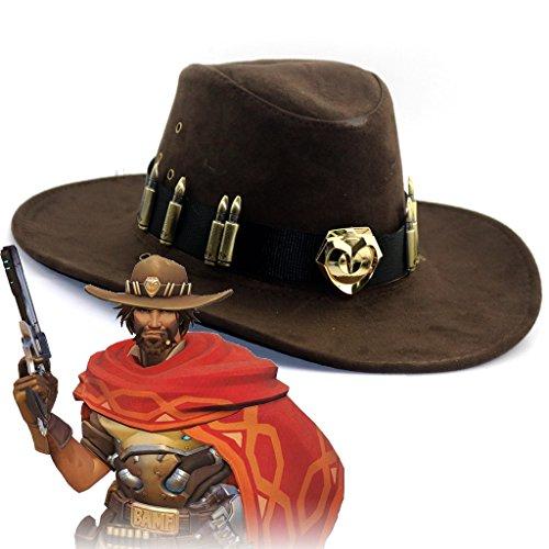 hcoser Overwatch Game Jesse·McCree Hüte Cosplay OW Cowboy Caps Zubehör Kostüm