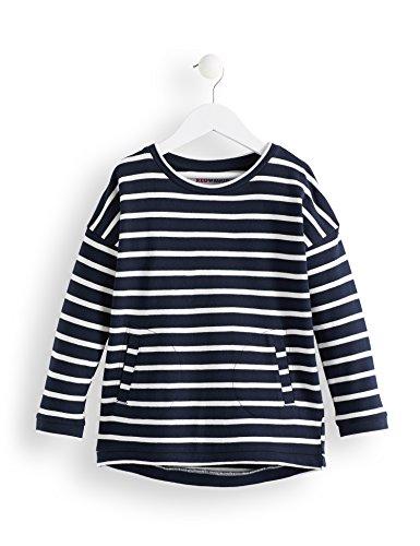 RED WAGON Mädchen Gestreiftes Sweatshirt mit Seitentaschen, Mehrfarbig (Off-White and Navy), 122 (Herstellergröße: 7)