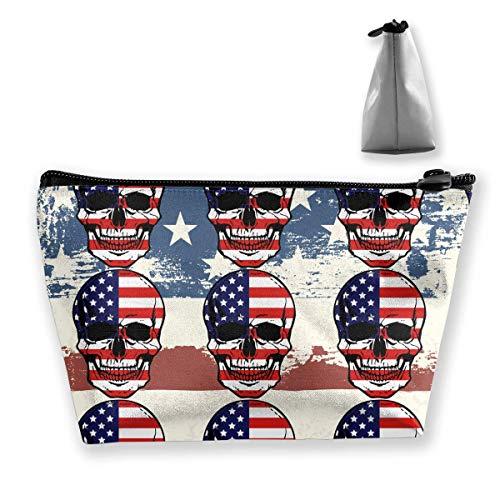 Amerikanische Flagge Schädel-Muster Prefessional Reise-Make-upbeutel-kosmetischer Organisator Portable -