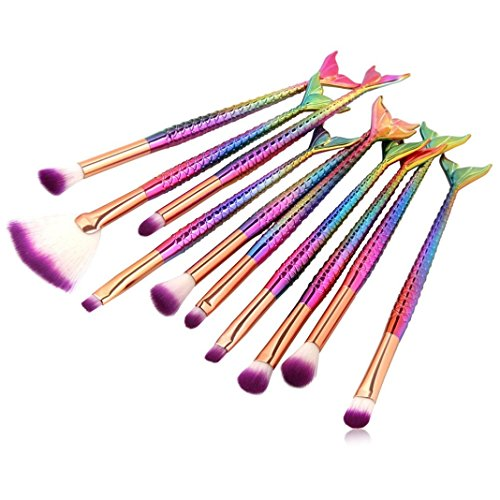 Pinceau Maquillage Sisit 10Pc arc-en-couleur fond de teint Mermaid makeups brosses. Nouvel ensemble de brosses à contour de fard à paupières populaires de 16 à 18 cm (10 pieces set)