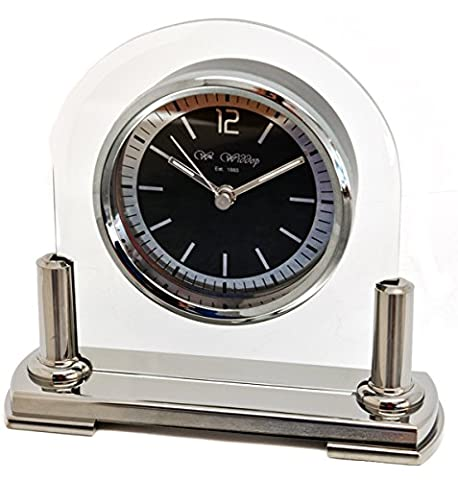 Personalised Two-Tone Gun Metal and Glass Arched Mantel Clock, Laser Engraved