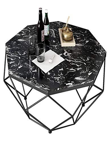 Table Basse en marbre/Table d'appoint Ronde, Petit Appartement, Salon Moderne Simple, Table en Fer forgé, Meubles, créativité, Or/Noir (57 × 57 × 45 cm)