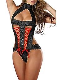 Fami Il corsetto sexy delle donne spinge verso l'alto il reggiseno superiore + la biancheria intima (Nero #1)