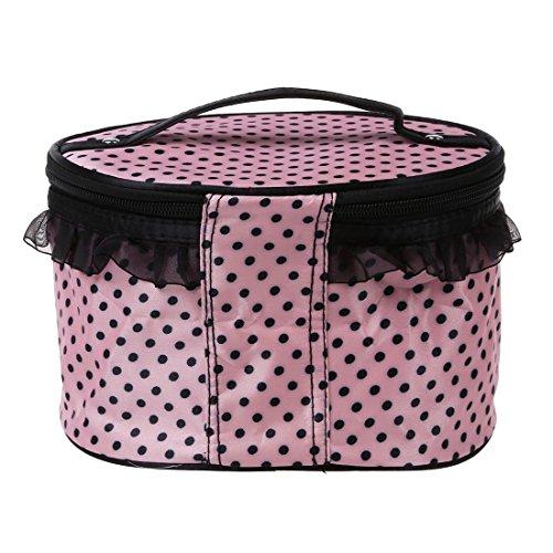 TOOGOO(R) Donne Cosmetic Bag Makeup di trucco compongono il contenitore di organizzazione di immagazzinaggio Caso di bellezza-rosso + cuore nero rosa chiaro&punti neri