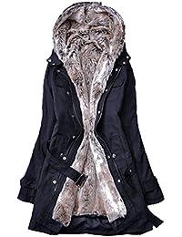 Blansdi 2016 Femme Veste à Capuche Hiver Manteau Blouson Chaud Parka Veston  Militaire Hoodie Long Coton Polaire Grand Taille avec… f75e1f9073b