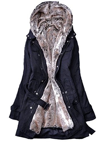 Blansdi 2016 Femme Veste à Capuche Hiver Manteau Blouson Chaud Parka Veston Militaire Hoodie Long Coton Polaire Grand Taille avec Ceinture Fourrure Amovible