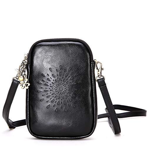 NEVEROUT Damen Jahrgang Aushöhlen Stil Handytasche Mini Leder Schulter/Messenger/Umhängetasche Flap Bag Schwarz/Rot/Braun (NP2287) (Black) -