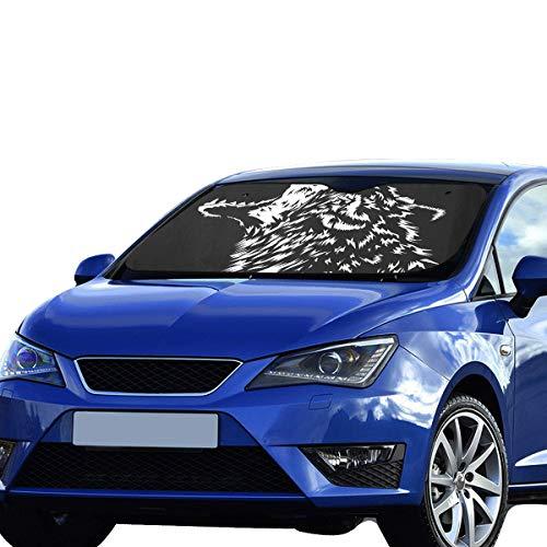 Auto Windschutzscheibe Abdeckung lustige heulende Wolf Kopf Illustrationen Cartoon Sonnenblende Universal Fit Auto Fahrzeug Heat Reflector Limousinen Geländewagen LKW 55