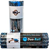 DUO-Roll High Density Dual Zone Trigger Point Foam Roller | Durable & Ergonomic Construction For Deep Tissue Massage | Smooth Side For Muscle Therapy / Ridged Side For Pain Relief (20-0615)