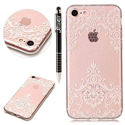 Custodia iPhone 7, iPhone 7 Cover Silicone Trasparente, SainCat Custodia in Morbida TPU Protettiva Cover per iPhone 7, 3D Creative Design Transparent Silicone Case Ultra Slim Sottile Morbida Transpare Lace Diagonal